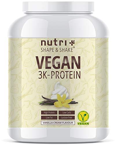 Protein Vegan Vanille 1kg 84,6% Eiweiß - 3k-Proteinpulver 1000g - Nutri-Plus Shape & Shake Vanilla Cream Flavor - pflanzliches Eiweißpulver ohne Lactose, Zucker, Stevia & Milch