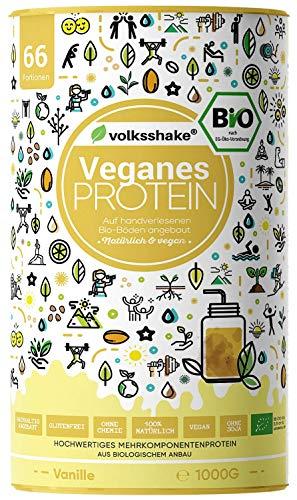 VEGANES PROTEIN VANILLE - BIO | Volksshake | 1kg | DE-ÖKO-006| mit BIO Reis-, Hanf-, Chia- & Kürbiskernprotein |cremig & lecker| sojafrei, glutenfrei, hergestellt in Deutschland