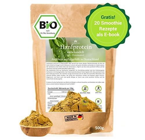 BIO Hanfprotein 500g aus Deutschland + Gratis Smoothie E-Book (PDF), DE-Öko-070, Vegan Protein aus Hanfsamen, Low Carb